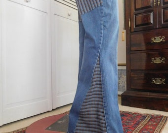 """Bell Bottom Jeans Bellbottoms Upcycled Clothing Denim 37"""" Waist 9 1/2"""" Rise Hippie 70s Style Butt Patch Jeans with Patches Size 13 SALE"""