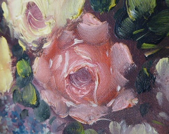 French Floral Oil Painting, Still Life Roses in Oil, Oil on Canvas, Framed Oil Painting, European Art 0517044-094