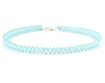 Beaded Anklet - Ankle Bracelet - Seed Bead Anklet - Beadwork Jewelry - Daisy Chain Anklet - Blue Jewelry - Summer Anklet