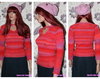 Sunset Keyhole Fitted Jumper [Double Knit]