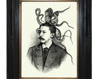 Victorian Gentleman with Octopus Kraken Squid Hat Art Print Tentacles Portrait Steampunk