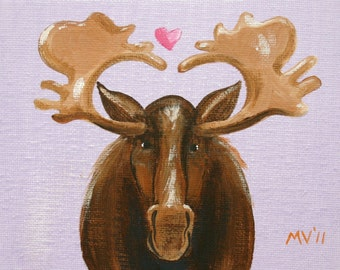 Valentine print, I Love You Moose Much - print, moose print