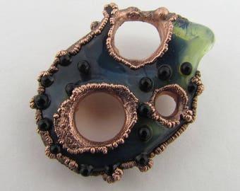 Electroformed Boro, Borosilicate, Handmade Lampwork Glass Pendant, Boro, Heady Glass, Chunky Hand Blown Glass Jewelry, Copper Jewelry