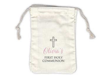 First Communion Cross Cotton Favor Bags for Baptism, Religious Ceremony in Black and Pink - Ivory Fabric Drawstring Bags - Set of 12 (1025)
