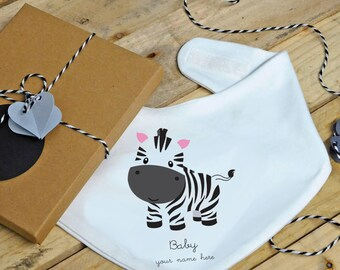 Baby zebra bandana bib - personalised, dribble bib, feeding bib, drool catcher, baby shower gift, baby boy, baby girl, birthday gift, animal