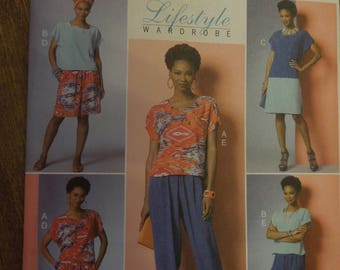 Butterick B6221, sizes xs to medium, top, dress, shorts, pants, UNCUT sewing pattern, craft supplies