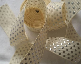 Cream foil ribbon | Grosgrain Ribbon | Bow Making Ribbon | Bow Supplies | Grosgrain Bow Ribbon | Christmas ribbon I