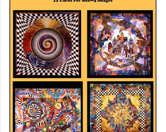 Greeting Cards: 12 cards - 3 each of 4 Art Quilt Images