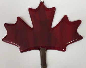 Maple Leaf Fused Glass Ornament