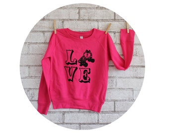 Roller Derby Love Youth Girl's Frech Terry Lightweight Sweatshirt in Hot Pink Roller Skating, Jam Skater, Long Sleeved Cozy Girls Clothes