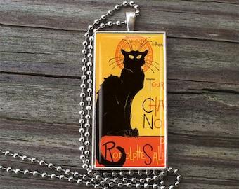 """Chat Noir Glass Tile Necklace inside Metal Framed Bezel INCLUDES 24"""" Chain Nouveau Art"""
