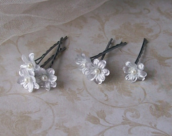 Silver Metallic Small Flower Hair Pins - Set of Six - Made to Order
