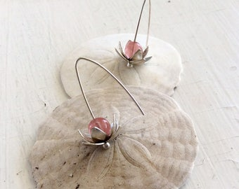 Sterling Silver Lotus Earrings with Cherry Quartz