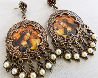 Ghent Alterpiece, Mary earrings, blessed mother, pearl and garnet, renaissance earrings, catholic jewelry, catholic earrings, goddess, gypsy