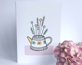 Teapot Floral card , just to say , thank you , happy birthday , retro teapot card ,mothers day,  invitation , friendship ,new house card