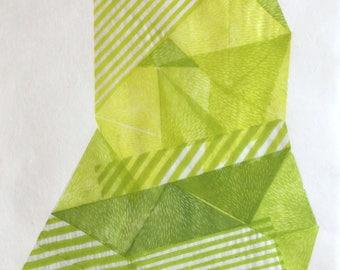Magical Object III. original linocut monotype print, geometric abstract wall art, Paulina Varregn