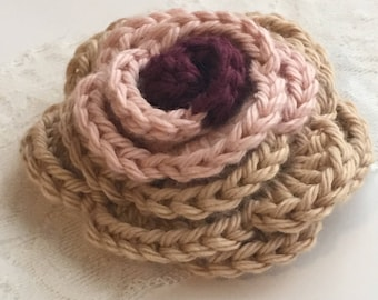 PIN HAT PIN crochet rose brooch