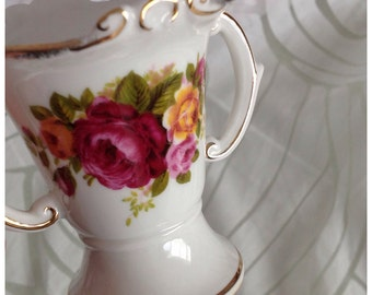 Vintage Bone China 'Cottage Rose' Trumpet Vase with Embossed Detail, Two Handles, Gilt Trim