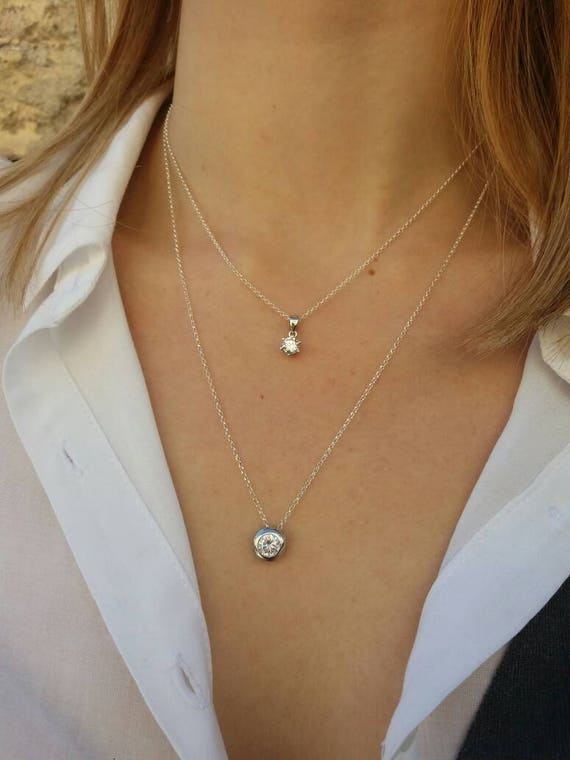 Wedding Necklace Set - Anniversary Gift - Layered Necklace - Floating Diamond Necklace - Sterling Silver Necklace - Cubic Zirconia