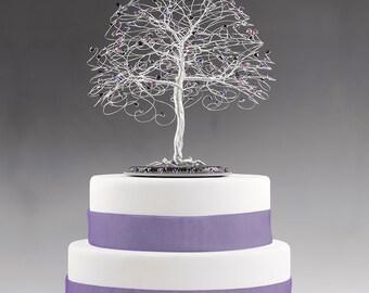 CUSTOM Tree Cake Topper Centerpiece Wedding Cake Topper Swarovski Crystal Elements Silver Copper Gold Choose Colors Crystal Tree Sculpture