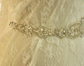 Crystal and Rhinestone Beaded Applique Bridal Belt Wedding Sash Applique