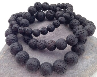 Lava bracelets, black bracelet, gift for him, gift for her, unisex bracelet, mens bracelet, black lava rock bracelet, diffuser bracelet