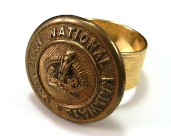 Canadian National Railways Antique Button Ring Train Conductor Button Steam Engine Railroad Ring on Brass Handmade by Compass Rose Design