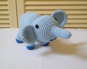 Crochet Blue Elephant Stuffed Animal / Crochet Doll / Amigurumi Toy/ Handmade Toys/ Gift For Kids/ Plushie Elephants