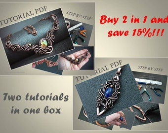 2 in 1 Tutorials wire wrap necklace and pendant 2 PDF files, wire wrap tutorial, tutorial wire wrapped jewelry, jewelry tutorial, pattern