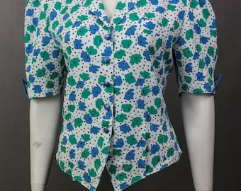 70s Vintage Blouse - Floral 70s - Clothing Womens Shirt - Summer Blouse Ladies - 70s Clothing Ladies - Top Flower Print - Short Sleeve