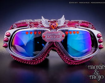 """Burning Man Aviator Festival Goggles: """"Hearts Galore"""" ~ Anti-Dust, UV400 protection ~ work great on the Playa!"""