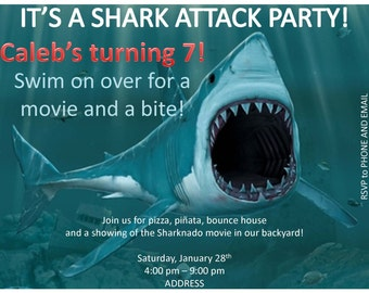 Custom Shark Attack Invitations