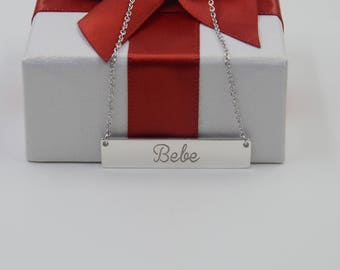 Silver name bar necklace engraved any name-name pendant-name jewelry-Bridesmaids Gift-Christmas gift