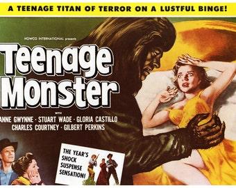 "Vintage Horror Science Fiction Movie Poster Print, 1957, Teenage Monster, PMSF 8"" x 10"""