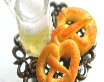 Pretzels and Beer Ring- miniature food jewelry, food ring, Oktoberfest
