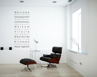 International Welcome greeting Decal | 15 Languages Welcome | Vinyl Wall Sticker | 60 x 145 cm / 24 x 57 inches