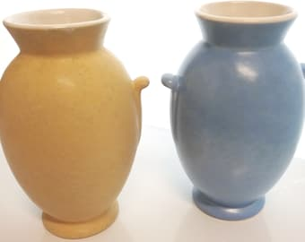 Vintage WELLER POTTERY Vase, Yellow + Blue similiar Vase