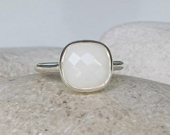 White Agate Stack Ring- Simple White Gemstone Promise Ring- Square Stone Silver Ring- Cushion Cut Faceted White Ring- White Bridal Ring