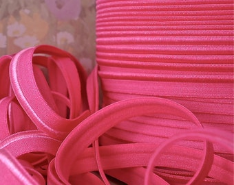 5yds Elastic Piping Pink Lip Cord 1/2 inch Hot Pink Elastic by the 5 yard Bias Tape, Lingerie Elastic, Bra making, Doll Trim ppl