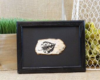 Birch leaf painting on birch bark in a black frame,Birch bark wall decor,Framed birch bark,birch bark painting,Rustic Birch leaf wall decor