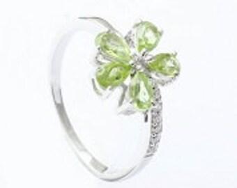 Handmade ring,925 silver ring,sterling silver ring,Peridot ring