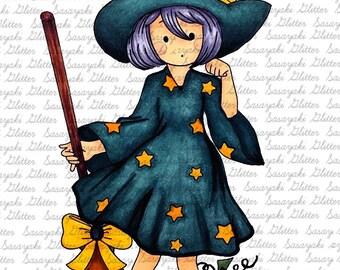 Cute Witch Digital Stamp Sasayaki Glitter
