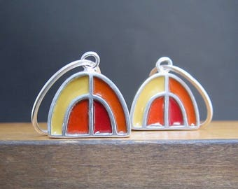 New Century Modern Red and Green Earrings - Reversible Silver and Enamel Lever Back Earrings - Half Dome Earrings