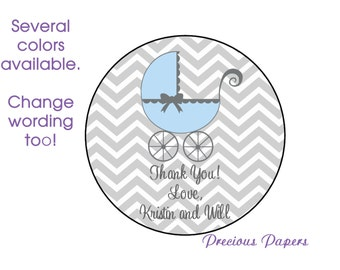 Personalized PRINTED blue baby shower sticker blue and gray chevron baby shower favor stickers stroller labels pram labels