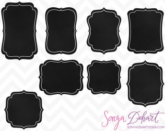 80% OFF SALE Clipart Chalkboard Label Chalk Frames Commercial Use Clip Art
