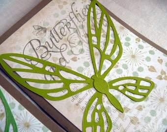 Blank Card Set, Thank You Card Set, Greeting Card Set, Stationery Set, Snail Mail, Set of 6 Cards, Butterfly Cards, Blue and Green