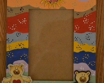 """Handpainted"""" wooden photo frame for baby boy or baby girl"""