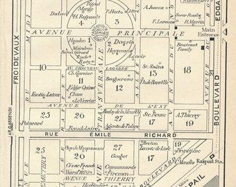 1927 Montparnasse Cemetery Paris France Antique Map