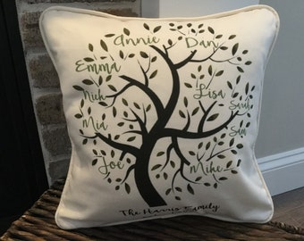 Custom Family Tree Pillow Cover and Insert, Personalized Family Tree, Mother's Day Gift, Anniversary Gift