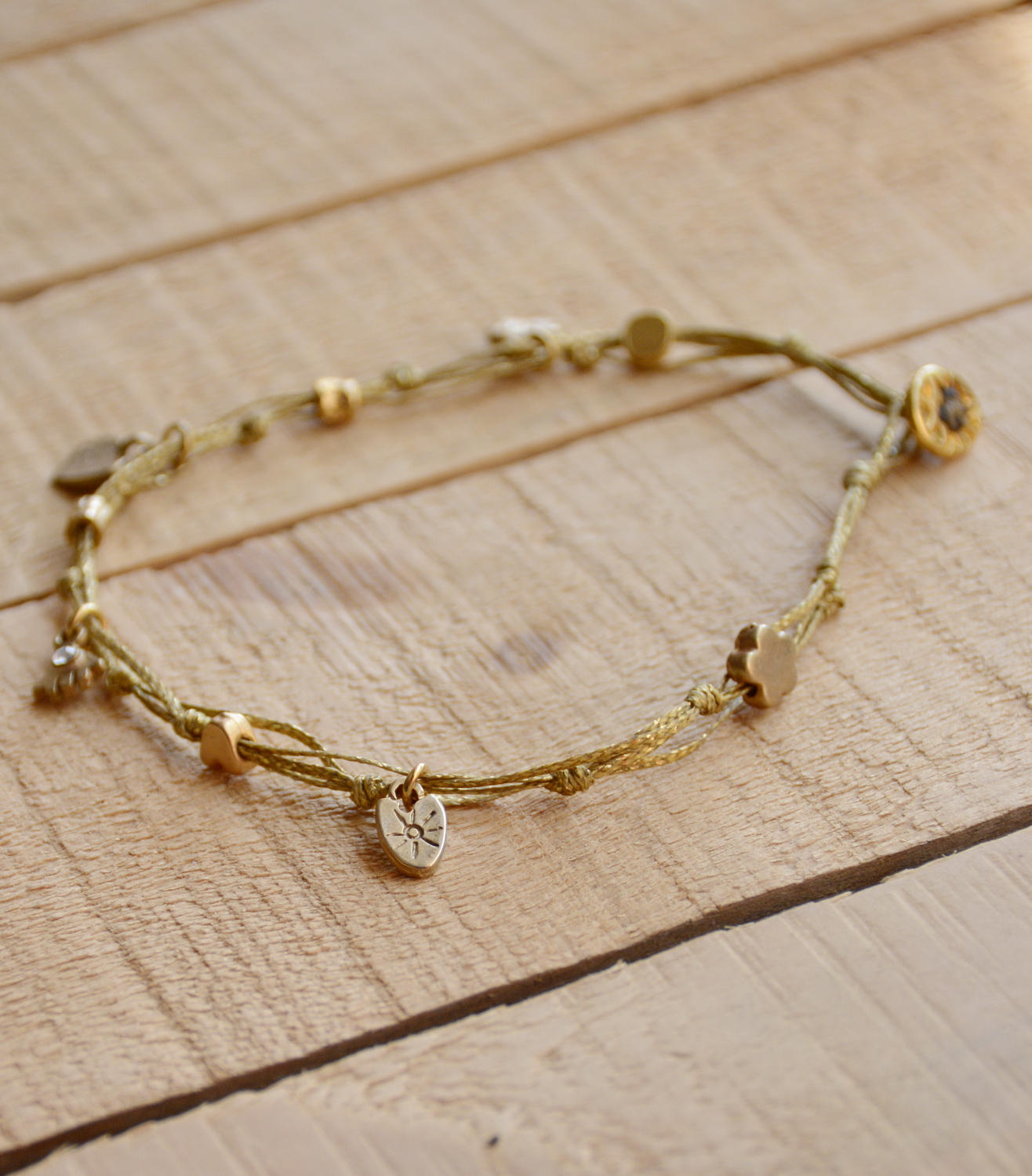 fancy bracelet with charm bronze gold charms anklet a cord ksvhs jewellery ankle infinity bracelets brown